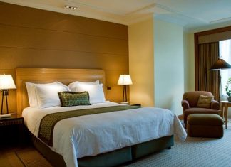 Hotel accommodation with bed