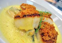 Macadamia crusted cod with lemon & orange myrtle sauce