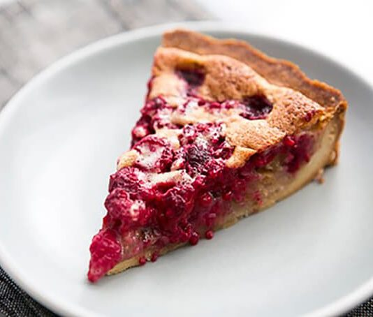 Raspberry & walnut tart