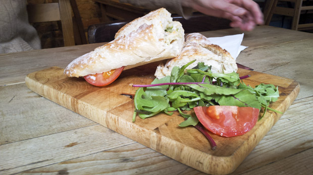 Rustic board with bread