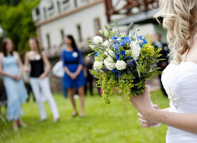 Bride holding flowers at a wedding venue