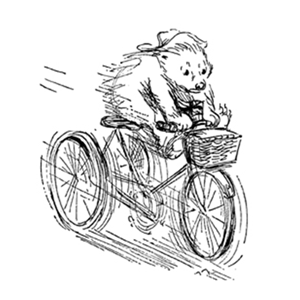 Padding pedalling a tricycle by Peggy Fortnum