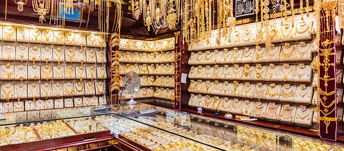 Jewellery stall at the gold souk in Dubai