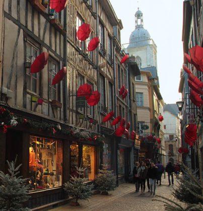 Umbrellas on Rue Massacre in Rouen